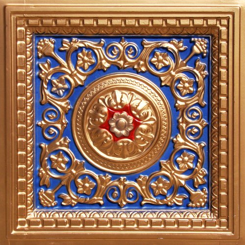Decorative Suspended Ceiling Tile #215 Navy Blue Gold Red 3