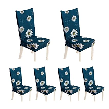 KOBWA Stretch Dining Chair Cover Set of 6, Removable Washable Fabric Chair Seat Protector Slipcover with Modern Printed Floral Patterns for Hotel, Dining Room, Ceremony, Banquet Wedding Party