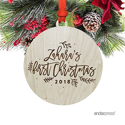 Andaz Press Personalized Laser Engraved Wood Christmas Ornament with Gift Bag, Baby's First Christmas 2017, Leaves Berries, Custom Name