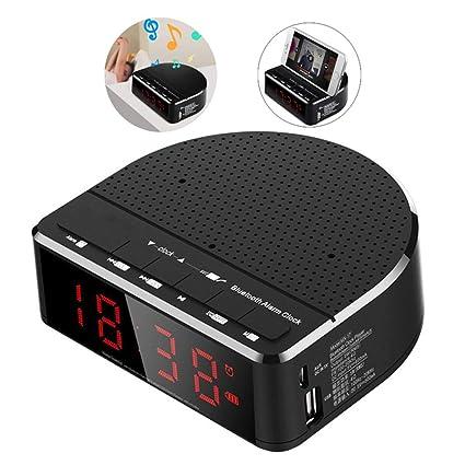 HEDDK Digital Alarm Clock Radio Bluetooth Bocina Pantalla de ...