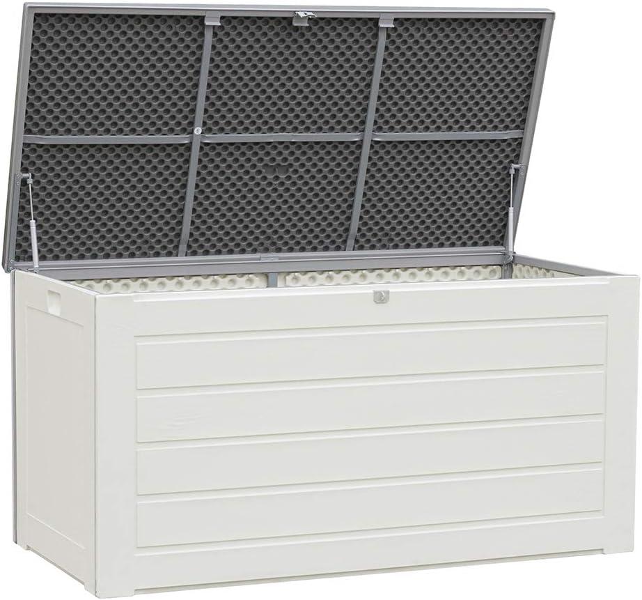 AirWave Outdoor Kunststoff-Gartenbox 680L Kunststoff Aufbewahrungsbank hellgrau