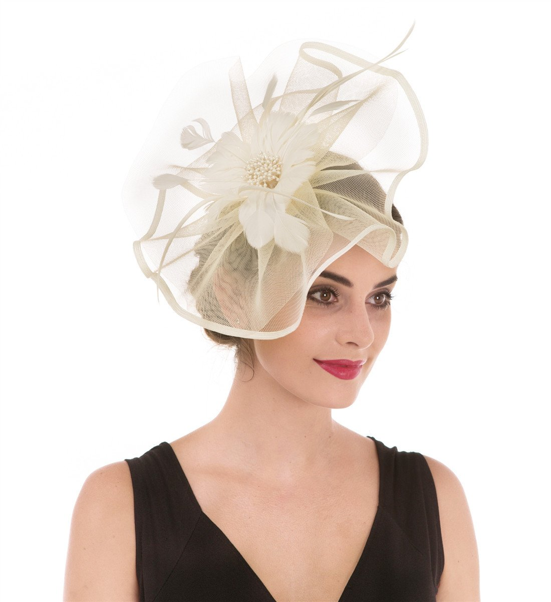 351dd53c91946 SAFERIN Fascinator Hat Feather Mesh Net Veil Wedding Tea Party Hat Flower  Hat with Clip and Hairband for Women and Girl (TA1-Beige)