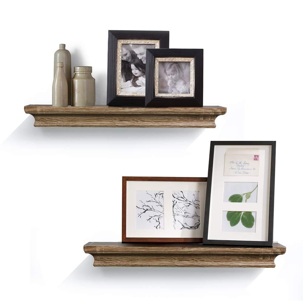 AHDECOR Floating Wall Shelves Ledge Shelf Grey Wash (4 inch Deep, Set of 2pcs) 161202GW