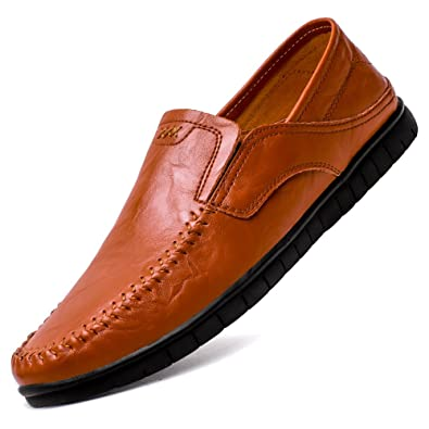 WaltZon Mens Casual Leather Slip-On Driving Loafers Moccasins Shoes(WZ8028R.Brown44)