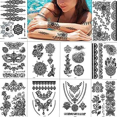 Tatuajes Temporales Negro Tatuajes Falsos Pegatinas Engomadas del ...