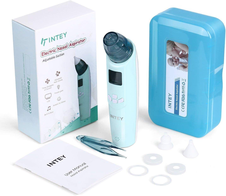 Intey - Aspirador nasal para bebé, con pantalla LCD, 3 niveles y 2 puntas de silicona, tamaños a elegir, para recién nacidos y niños pequeños, seguro e higiénico, con luz y música: