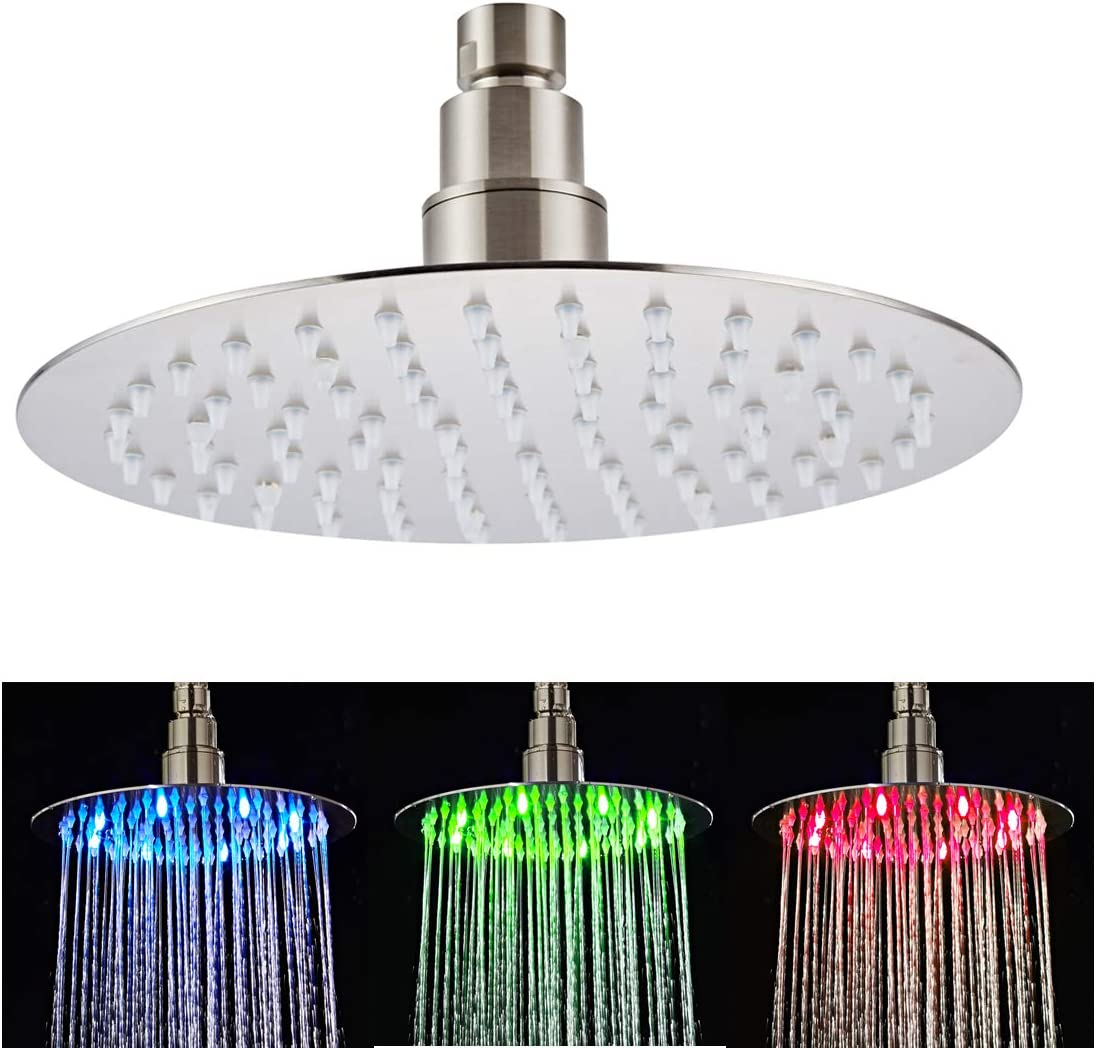 Fyeer 8 Inches LED Rain Shower Head Stainless Steel, High Pressure Rainfall Bathroom Fixed Shower Head Ultra Thin, Adjustable Ceiling Mounted with Silicone Nozzles, Brushed Nickel