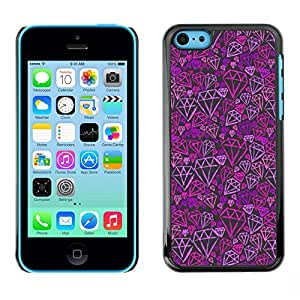 Caucho caso de Shell duro de la cubierta de accesorios de protección BY RAYDREAMMM - Apple iPhone 5C - Purple Pink Bling Pattern