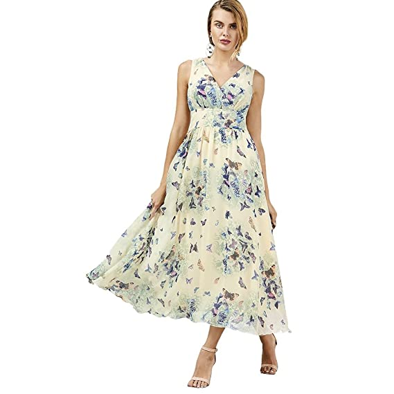 74081004deb DressLily Empire Waist Butterfly Print Flowing Dress at Amazon Women s  Clothing store