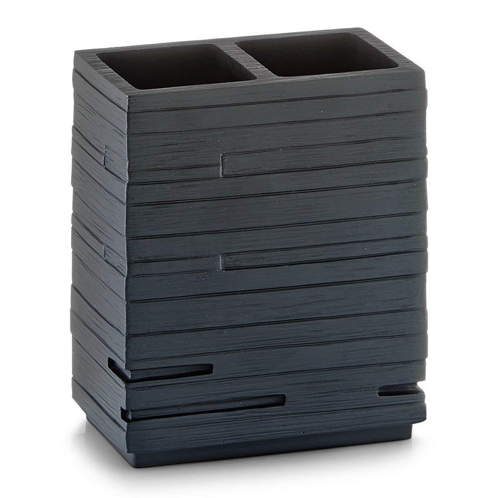 Poli Resina Negro Zeller 18318 Porta Cepillos de Dientes 10.1x6.3x11.5 cm