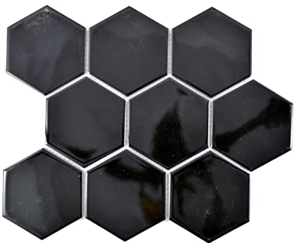 Mosaico piastrelle in ceramica hexagon nero lucido per pavimento