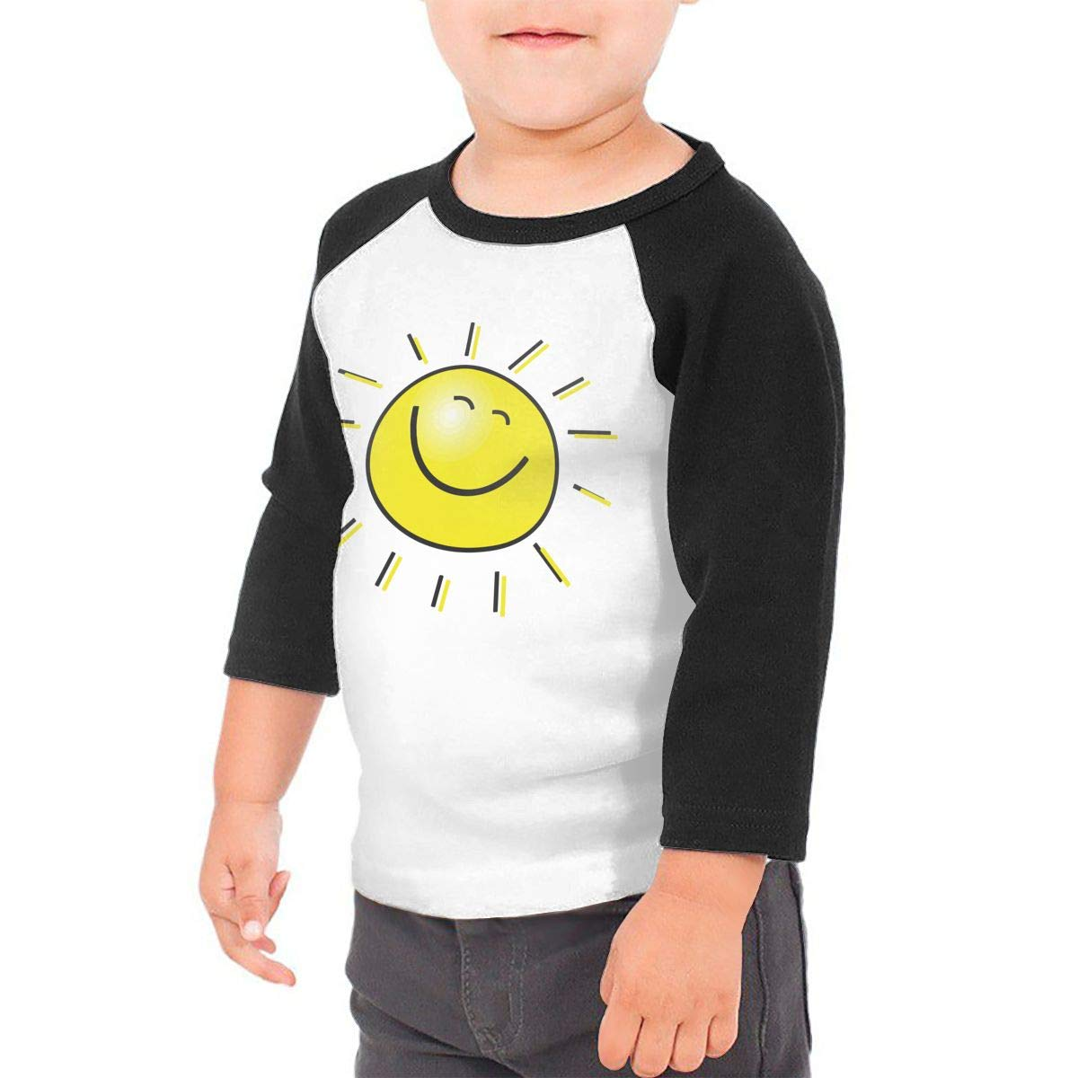 Cartoon Sun Unisex 100/% Cotton Childrens 3//4 Sleeves T-Shirt Top Tees 2T~5//6T