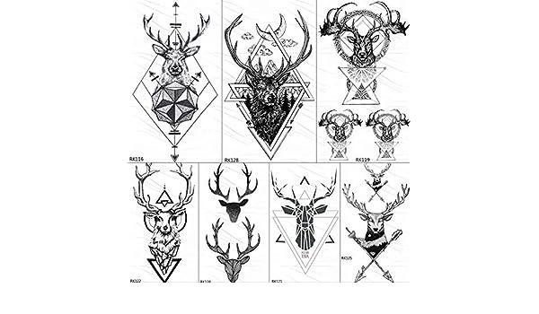 KAMRL Tatuaje Falso Tatuaje Geométrica Elk Astas Temporal ...