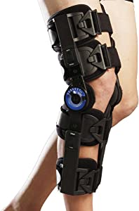 Orthomen Hinged ROM Knee Brace, Post Op Knee Brace for Recovery Stabilization, ACL, MCL and PCL Injury, Adjustable Medical Orthopedic Support Stabilizer After Surgery, Women and Men