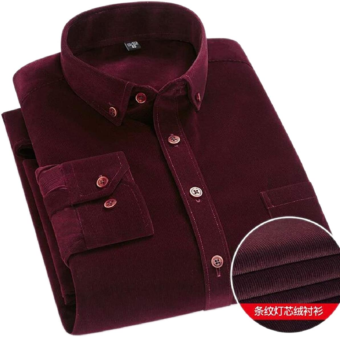 FLCH+YIGE Mens Corduroy Button Down Long-Sleeve Classic Workwear Blouses