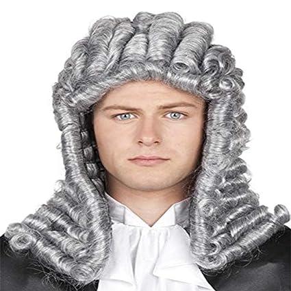 RANRANHOME Abogado Peluca Juez Largo Rizado Gris Hombres Colonial George Washington Histórico Traje De Halloween Vestido
