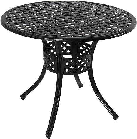 sunnydaze round patio dining table outdoor durable cast aluminum construction decorative lattice design outside patio furniture with umbrella