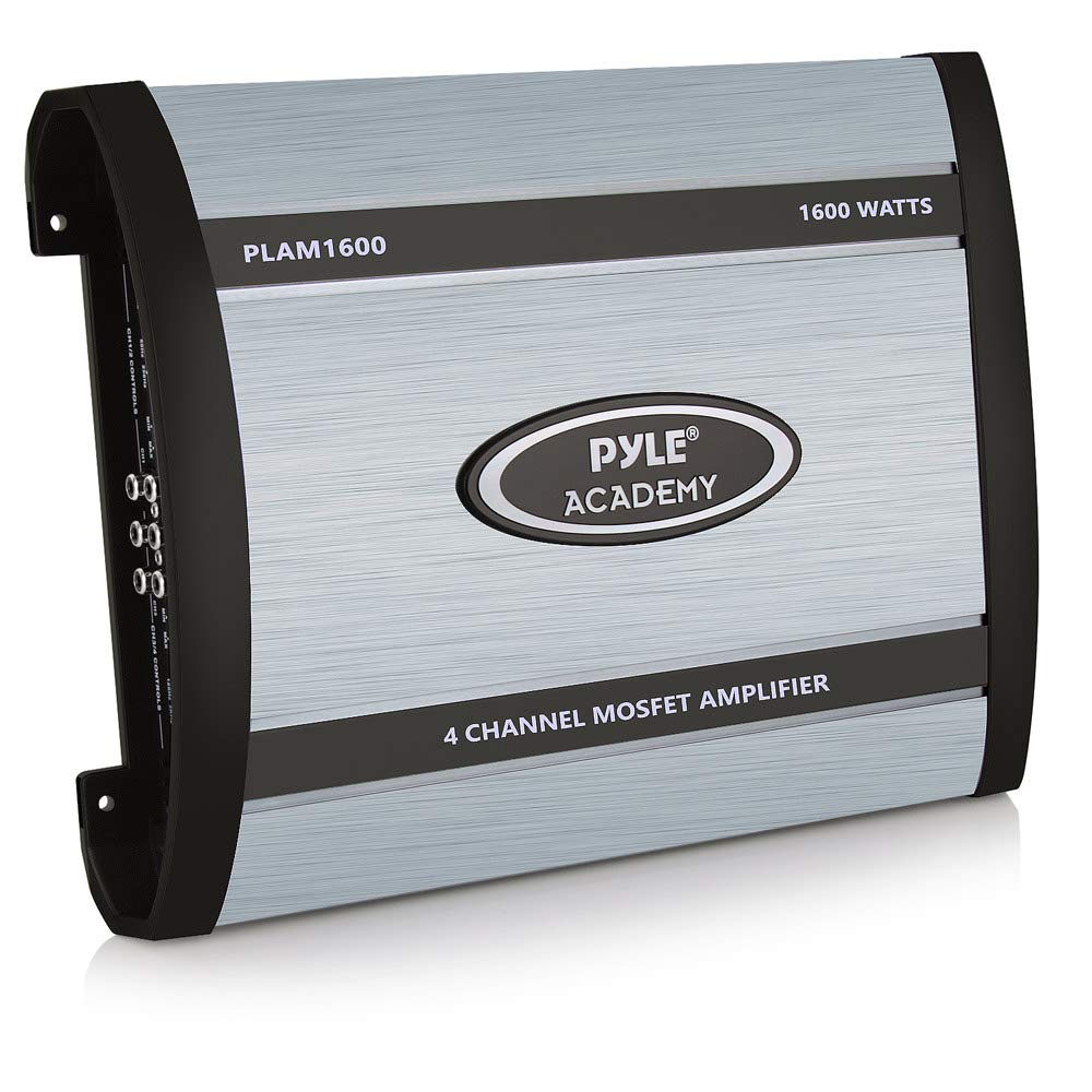 4 Channel Car Stereo Amplifier - 1600W Bridgeable High Power MOSFET Audio Sound Auto Small Speaker Amp Box w/ Crossover, Bass Boost Control, Silver Plated RCA Input Output - Pyle PLAM1600