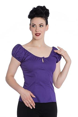 Blusa Top Púrpura de Hell Bunny Melissa en estilo Rockabilly 50's