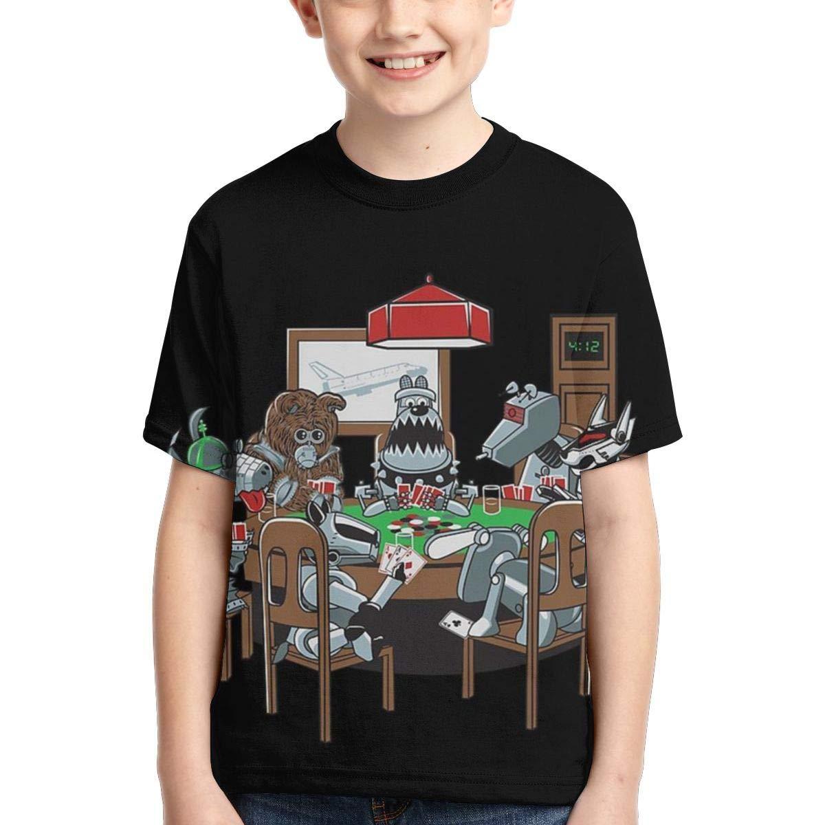Boys Short Sleeve Robot Dogs Playing Poker Funny Dog Kids Cool 3D Print Tshirts Tee Shirts Tops