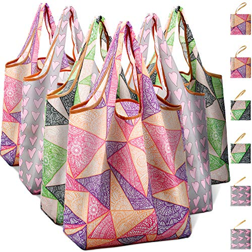 Reusable Grocery Shopping Bags Foldable with Pouch, Heavy Duty Nylon Cloth Reusable Bags for Groceries, Shopping Trip (Geometric&Heart-shape, 6-pcs)