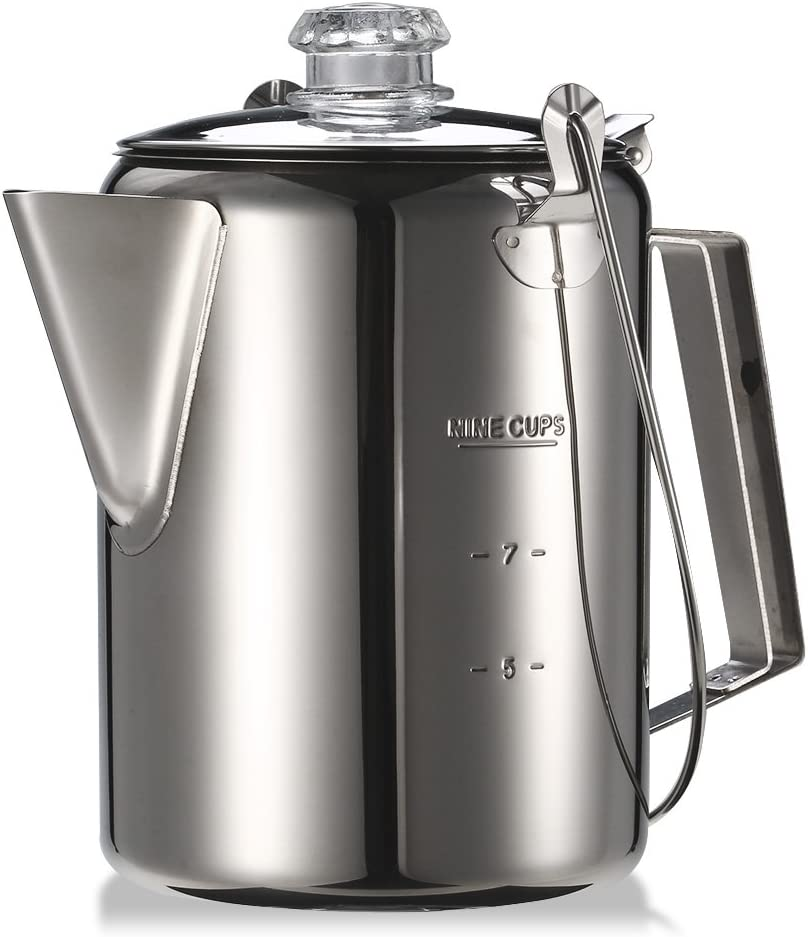 Benkeg Coffee Pot Outdoor 9 Cup Stainless Steel Percolator Coffee Pot Coffee Maker for Camping Home Kitchen