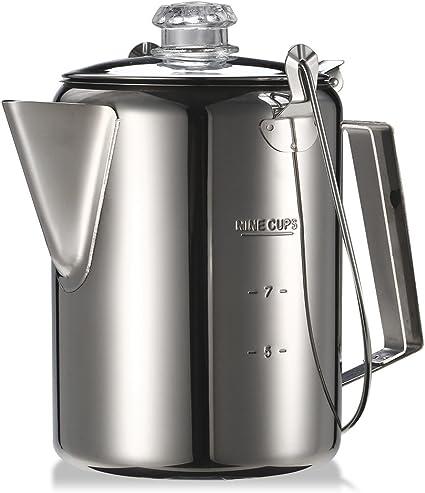 Festnight Jarra de café para camping con filtro, 1,2 L, 9 tazas, acero inoxidable, percolador, adecuada para exterior, camping, cocina familiar