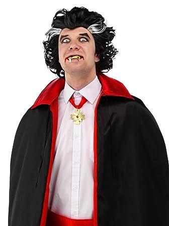 Folat Hombre Hombres peluca vampiro Drácula Negro Blanco mechones Halloween Fasching fastnacht