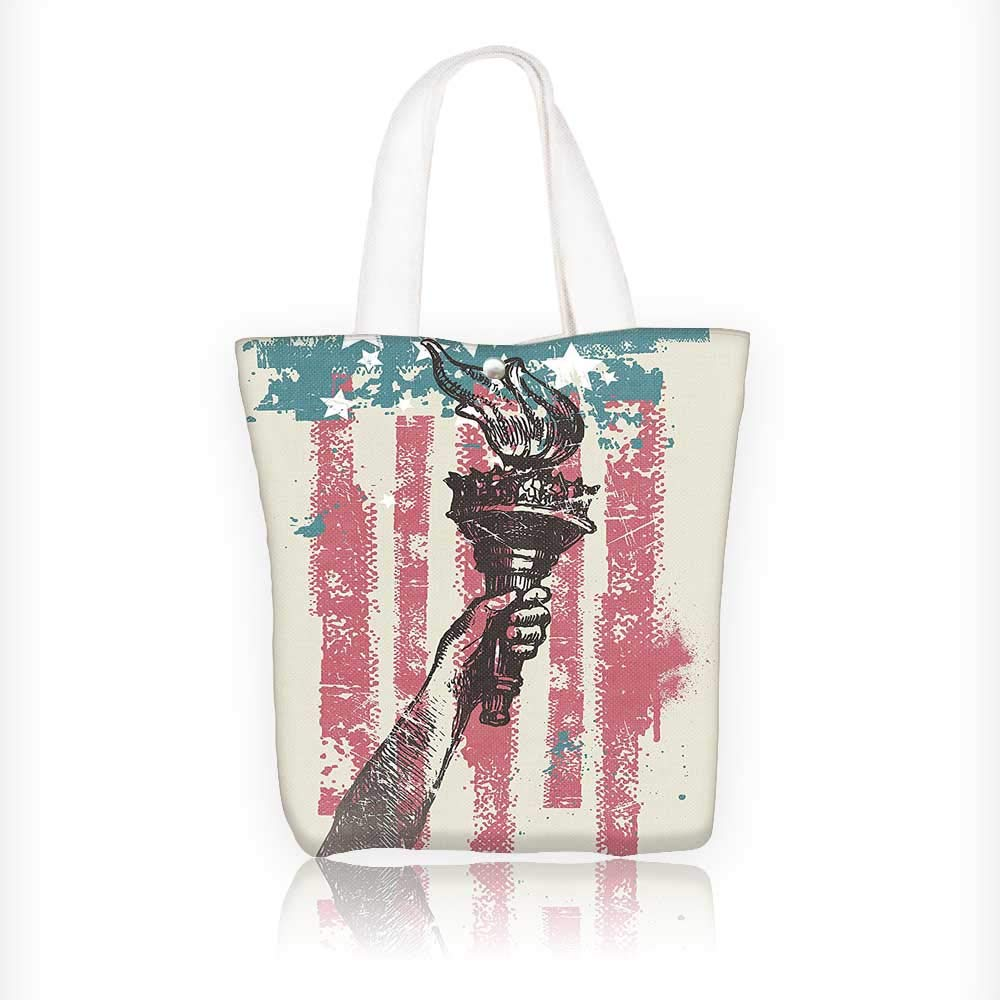 Canvas Beach Bags Patriot Sign th of July Coat of Arms Pink Totes for Women Zippered Beach Shoulder Bag W11xH11xD3 INCH