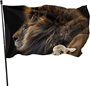 and The Lion Shall Lie Down with The Lamb Tapestry Courtyard Flag Terracepot Balcony Outdoor Decoration Lawn Garden Flower Flag