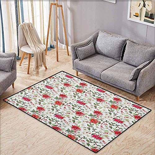 Kids Rug,Watercolor,Fresh Poinsettia Flowers and Rowan Berry Branches Christmas Garden,Ideal Gift for Children,5
