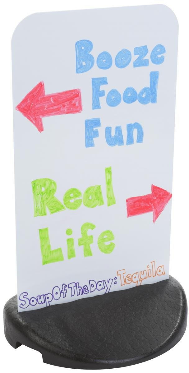 Displays2Go Sidewalk Sign with Weighted Base, Double Sided, Outdoor Rated - White Panel, Black Bottom (ECO1831WN)