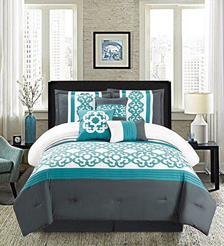 Golden Linens Turquoise White 7 Pcs Embroidery Comforter Set (CalKing)