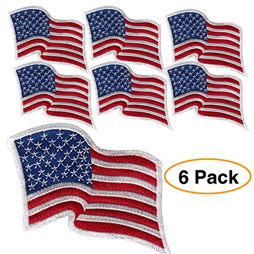 6 Pack - American Flag Embroidered Patch Wavy, White Border USA United States of America, US Flag Patch, sew on