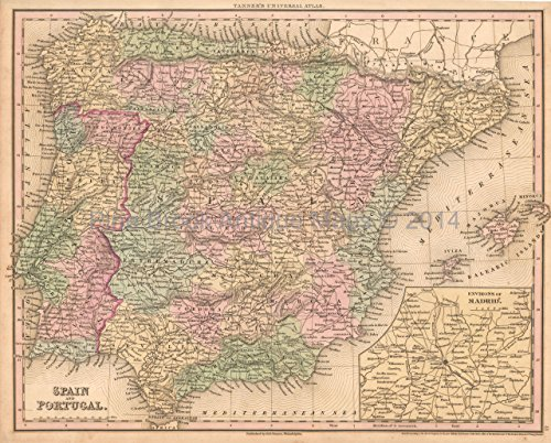 - Spain Portugal Antique Map Tanner 1836 Authentic Spanish Decor History Genealogy Gift Ideas