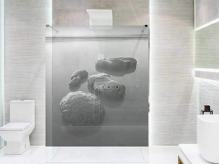 Vinilo Transparente para Mamparas de Ducha y Baños Piedras Lago Blanco y Negro | Varias Medidas 185x110cm | Adhesivo Resistente y de Fácil Aplicación | Pegatina Adhesiva Decorativa de Diseño Elegante: Amazon.es: Hogar