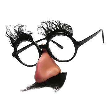 MagiDeal Paire Lunettes Drôles Sourcils Moustache Gros Nez Unisexe Costume  de Nuit Cadeau de Filles de 8431f4ed5201