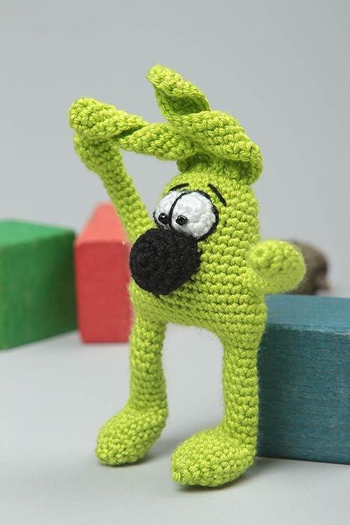 Peluche para ninos hecho a mano regalo original juguete tejido Conejo verde