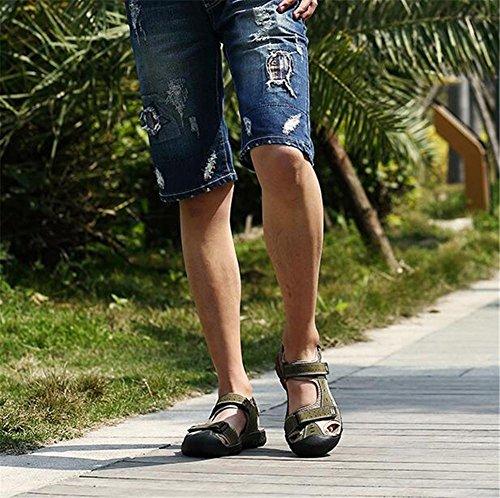 de de libre a de Zapatos de primavera Green de 46 verano fuertes Sandalias pies Correas Talla aire cuero genuino al 38 Sandalias Senderismo Velcro cerrados Chanclas NSLXIE green eu38 Caminar hombre Trekking 5zpqqR