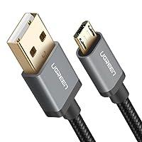 UGREEN Câble Micro USB Charge Rapide et Sync 2,4A en Nylon Tressé pour Samsung Galaxy S7 S6 Edge J3 J5 J7 A3 A5 A7 2016, Huawei P10 Lite P9 Lite, Wiko Smartphones, Manette PS4, Tablette (2M, Noir)
