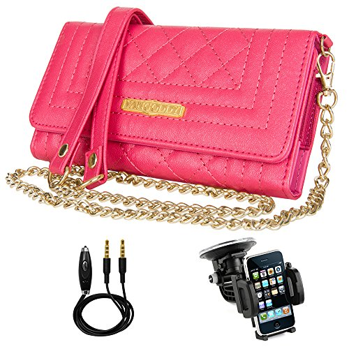 - (Magenta) Vangoddy Leather Zippered Wallet/Folio [Chain Strap] [Card Slots] [Back Pouch]for Mobile Phone Sony Xperia Series L1/XA1/XZ Premium/XZs + Windshield Car Mount + Auxiliary Cord