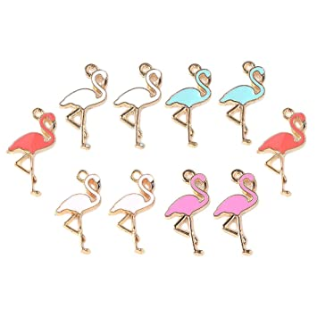 INS Hot Pink Flamingo Pendant Hand Making Necklace Jewellery DIY Crafts Fashion