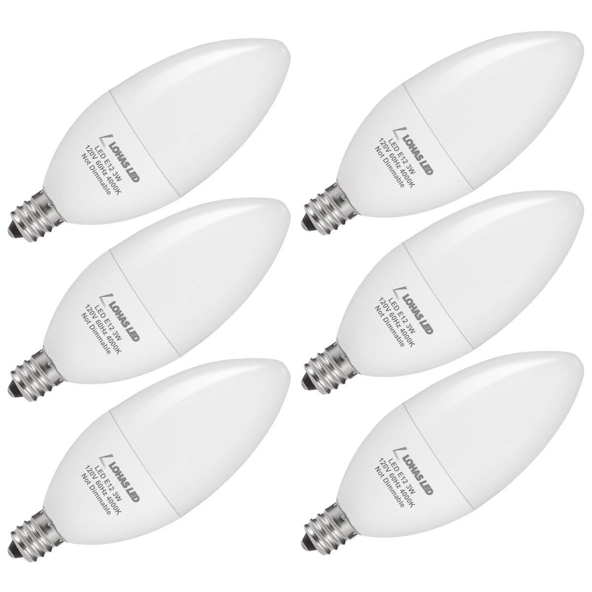 LOHAS 3W LED Light, 25W Halogen Bulb Replacement, E12 Candelabra Base, Natural Daylight 4000K LED Bulbs for Kitchen(6 Pack)