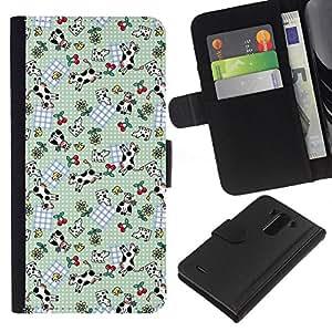 A-type (Vaca divertida linda de las cerezas del patrón) Colorida Impresión Funda Cuero Monedero Caja Bolsa Cubierta Caja Piel Card Slots Para LG G3