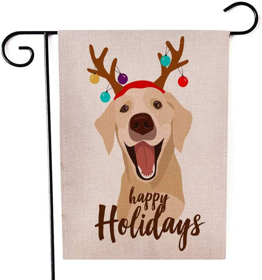Capsceoll Garden Flag Outdoor 12.5X18 Inch Double Sided Happy Dog Rain Deer Horns Decorated Christmas Balls Decorative Yard Flag for Autumn Christmas Christmas