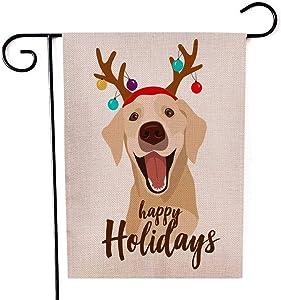 Capsceoll Garden Flag Outdoor 12.5X18 Inch Double Sided Happy Dog Rain Deer Horns Decorated Christmas Balls Decorative Yard Flag for Autumn Christmas Christmas