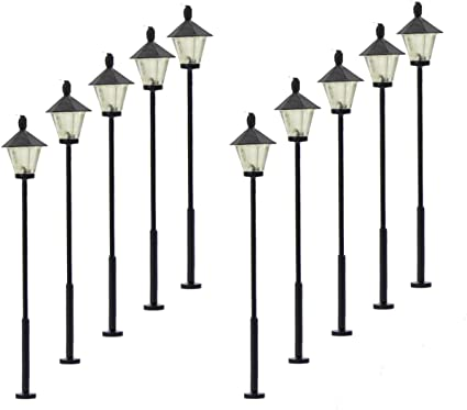 10pcs Model LED Lamp Post Lamps Street Lights for HO OO TT Scale 1:100