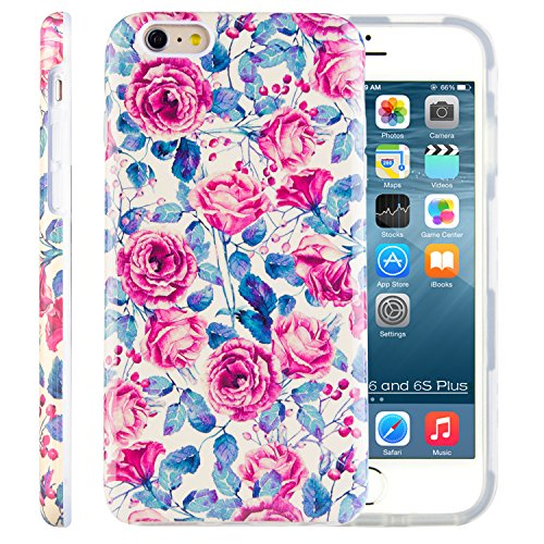 iPhone 6S Plus Case for Women, Dimaka Vintage Rose Flower Floral Design Cover with Full Coverage 2 Layer Bumper, Drop Proof, Shock Resistant - Obsession Red / Bouquet