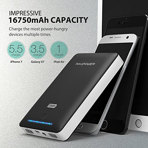 Portable Chargers 16750 RAVPower 16750mAh External Battery Pack 4.5A Dual USB Output External Phone Charger Battery Bank Power Bank (iSmart 2.0 Tech) for Nintendo Switch, iPhone 7, Galaxy S8 - Black