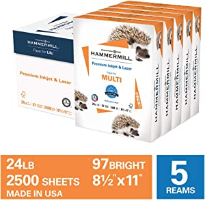 Hammermill Premium Inkjet & Laser Paper, 24lb, 8.5 x 11, 5 Ream Case, 2,500 Sheets, Made in USA, Sustainably Sourced From American Family Tree Farms, 97 Bright, 166140C